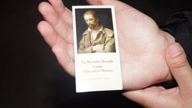 The signature prayer card for Labre. (photo: Maria Marchetti)