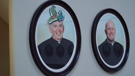 Portrait of Fr. Lucey in the Lucey Administration Building (photo: )