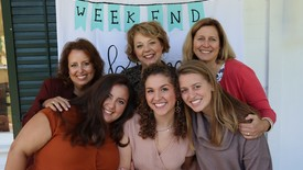 Monica Moreno (Left), Madeline Campo, & Caroline Strand with their mothers for Phi Mu Brunch (photo: )