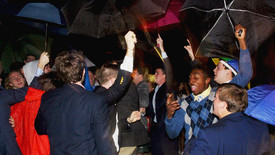 Members of Sigma Chi Fraternity celebrate their new members. (photo: Maggie Algero)