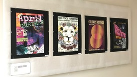 Students from ART 320 put on a graphic poster display in the Bedsole Gallery  (photo: Janden Richards)