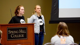 Leaders of ONE Campus gather SHC students for their Informational Meeting (photo: Brenda Carrada)