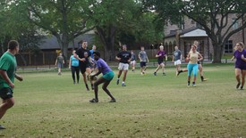 Both rugby teams practice together to prepare for upcoming games.  (photo: Breanne Bizette)