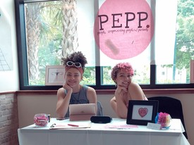 Morgan German and Sydney Parker, founders of PEPP, table for their organization at the back of the Student Center. (photo: Brenda Carrada)