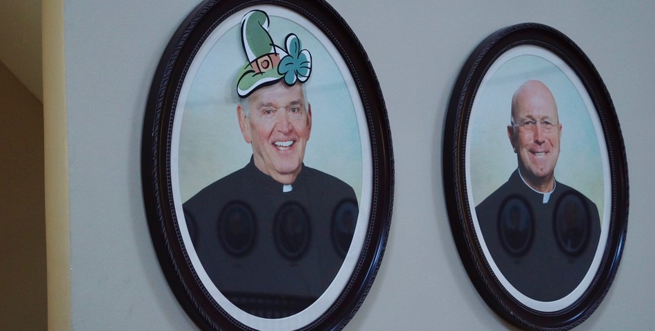 : Portrait of Fr. Lucey in the Lucey Administration Building