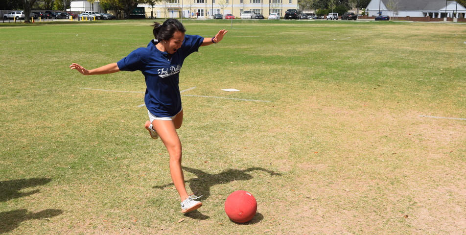 Walter Massey: An SHC student participates in the Phi Mu kickball tournament.