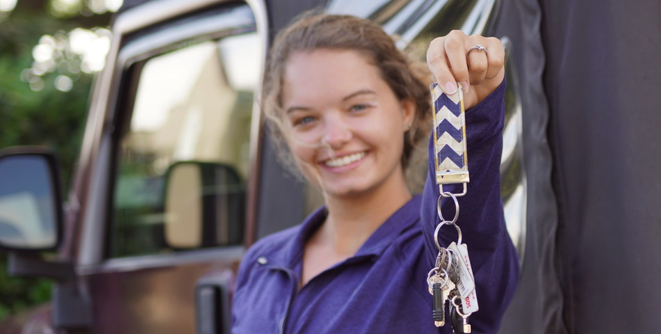 Kayley Robinson: Commuter student shows off car keys.