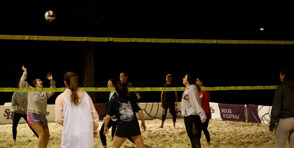 : Delta Gamma and Tri Delta play in the TKE volleyball tournament to raise money for St. Jude's Children Research Hospital